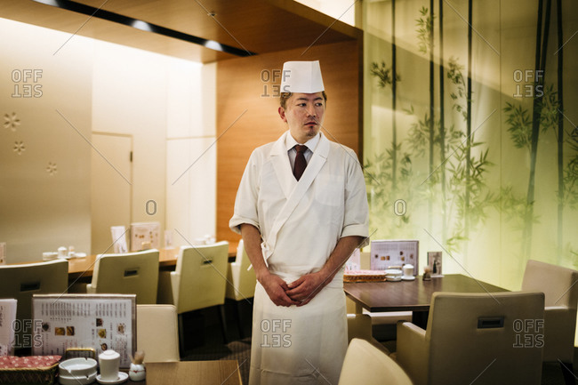 Sapporo, Japan - July 29, 2015: Chef in restaurant