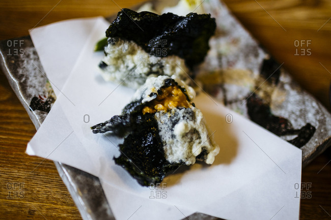 Fried Japanese sea urchin dish