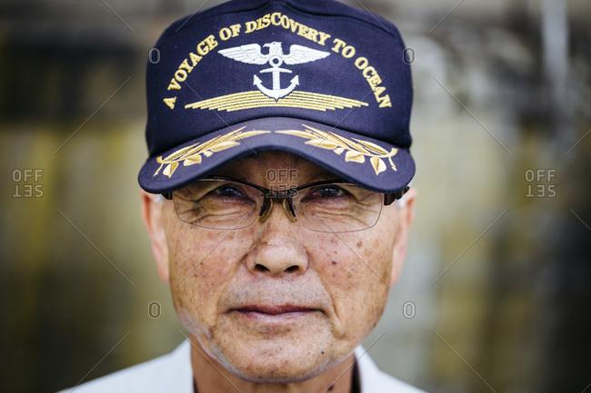 Otaru, Japan - July 30, 2015: A portrait of a boatman