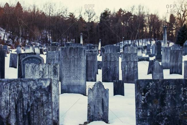 Rows of headstones in a snowy graveyard