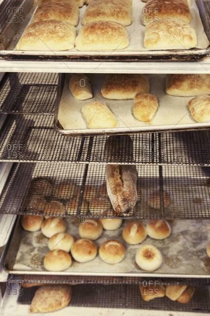 Baked goods on a bakery rack