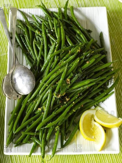 Platter of roasted green beans