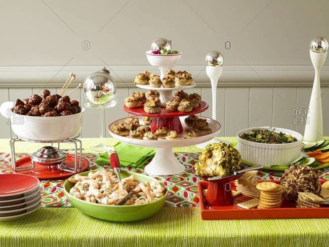 Snacks and appetizers at a holiday party