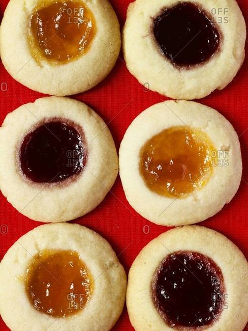 Fruit and almond thumbprint cookies
