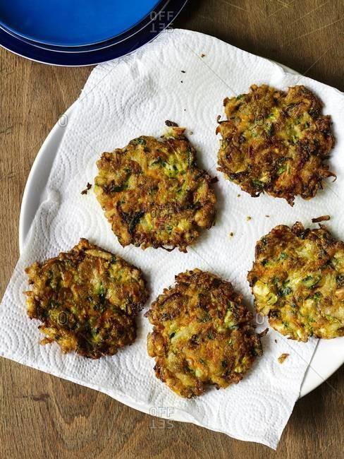 Vegetable feta pancakes on a plate