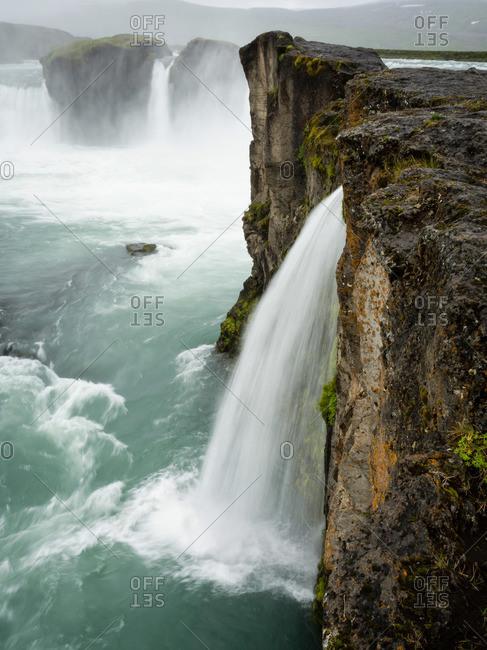 Selfoss waterfall, a cascade of water over a sheer cliff