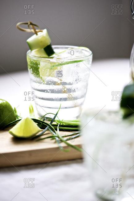 Cucumber vodka cocktail in a glass