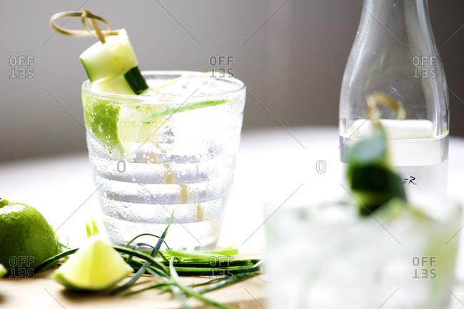 Refreshing cucumber vodka cocktail