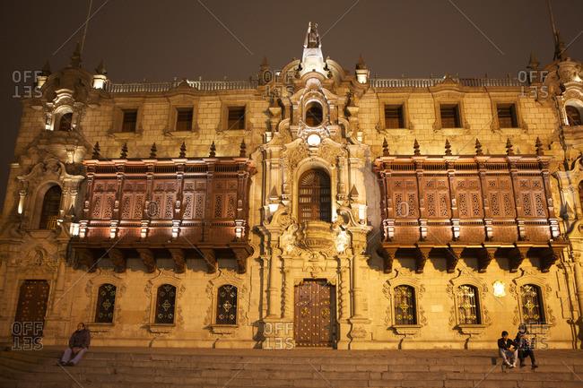 Lima, Peru - September 12, 2011: Archbishop's Palace of Lima, Peru
