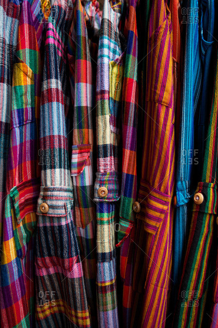 Close-up of colorful woven textiles for sale in Lima, Peru