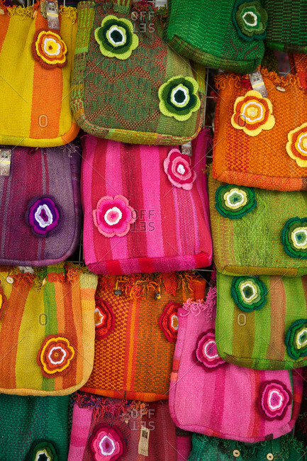 Colorful fabric bags in a Latin American market