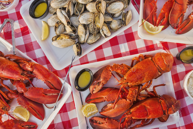 View of table with lobster meal and a side of clams