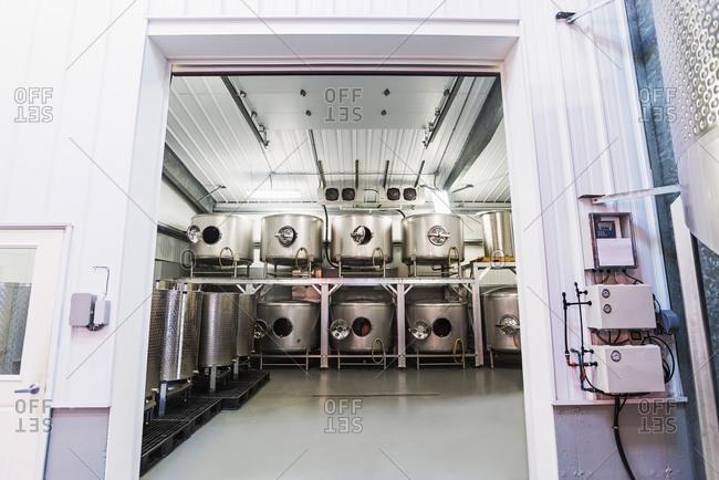 Winery equipment in warehouse