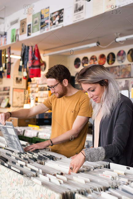 Couple perusing records in a store