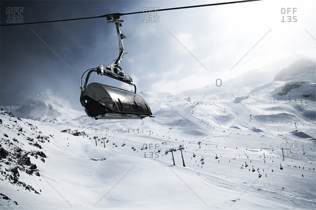 Cable car in winter landscape in the mountains, Ischgl, Tyrol