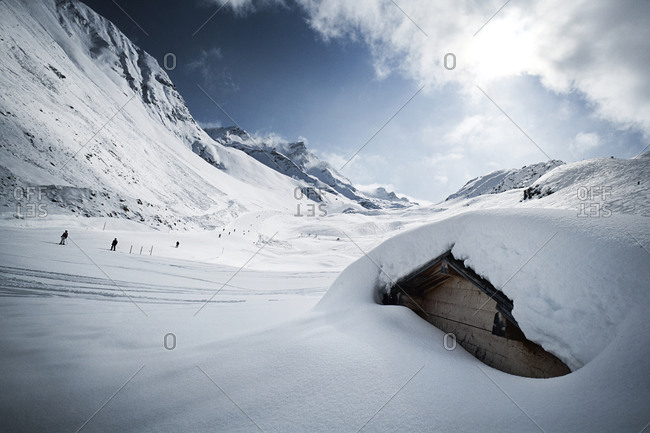 Snow-capped hut in winter landscape, Ischgl, Tyrol