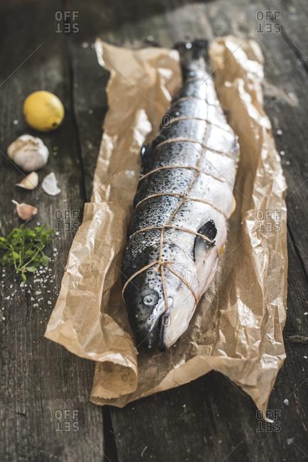 Raw salmon bound with string