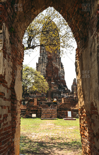 View to old temple Wat Mahathat, Thailand