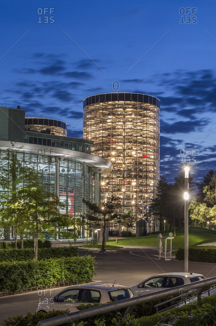 Autostadt, Wolfsburg, Germany - September 16, 2015: Automobile museum in the evening