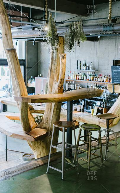 September 15, 2015: Bar area in a Tokyo hostel