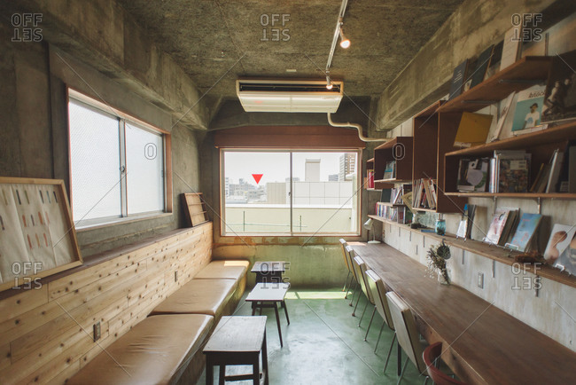 September 15, 2015: Lounge area in a Tokyo hostel
