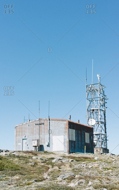 Exterior of weather station atop a hill