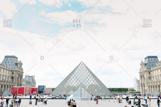 September 15, 2015: The Louvre and glass pyramid in Paris, France