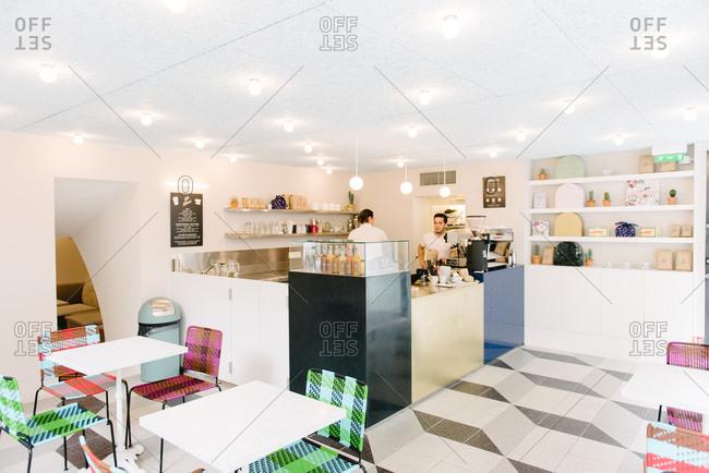 September 15, 2015: Baristas in a trendy coffee shop in Paris