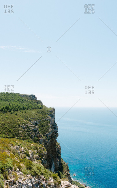 A cliff along the Mediterranean sea