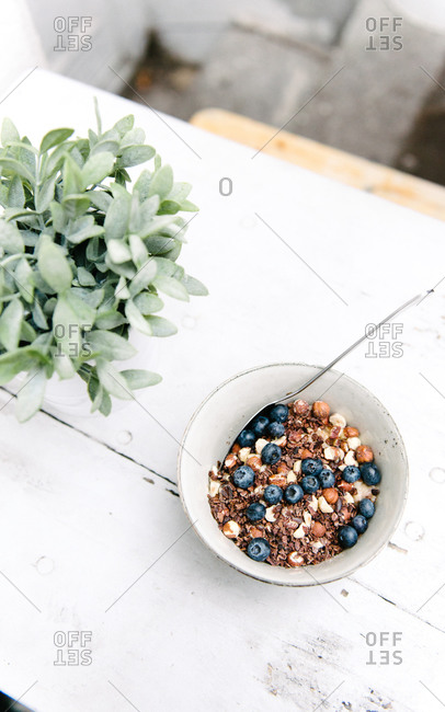 Bowl of muesli with blueberries and hazelnuts