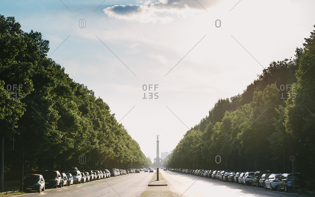 Tree lined street leading to Victory Column, Berlin
