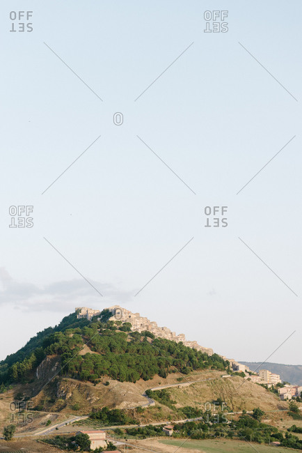 Village built on mount in Italy
