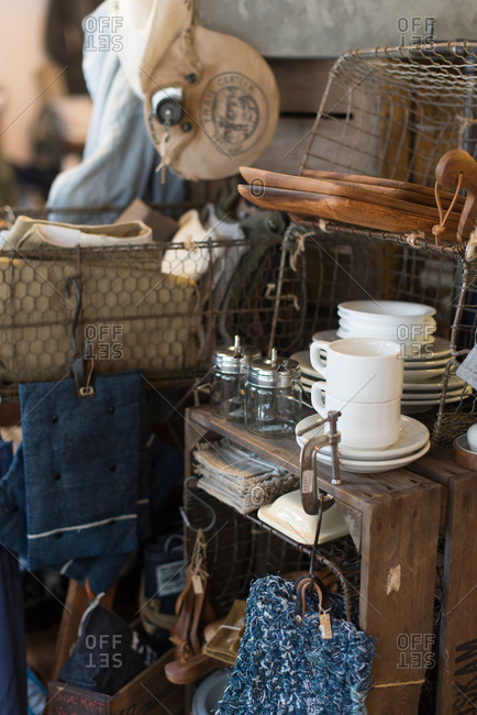 Dishes and various goods in a resale shop