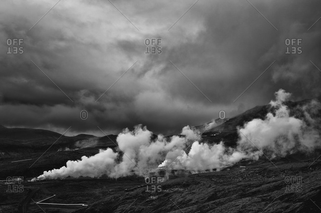 Steam rising from a geothermal power plant