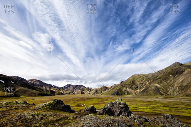 Grassy plain at Landmannalaugar, Iceland