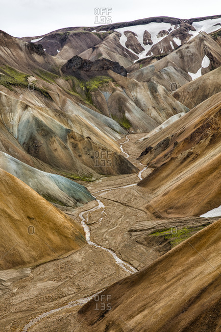 River bed in a valley at Landmannalaugar, Iceland
