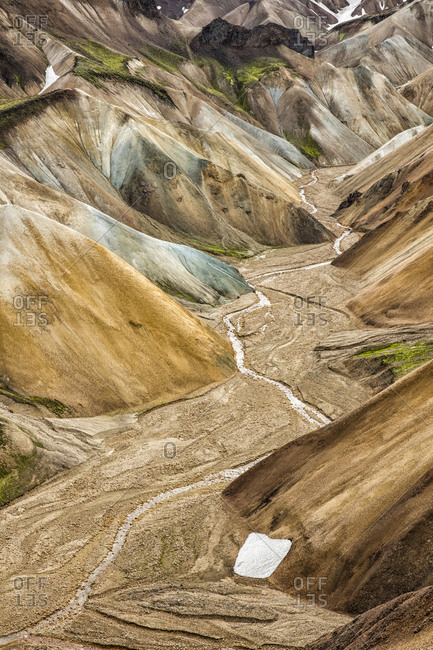 Valley with a dry river bed at Landmannalaugar, Iceland