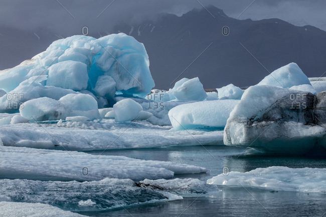 Ice formations at a glacial lagoon in Iceland