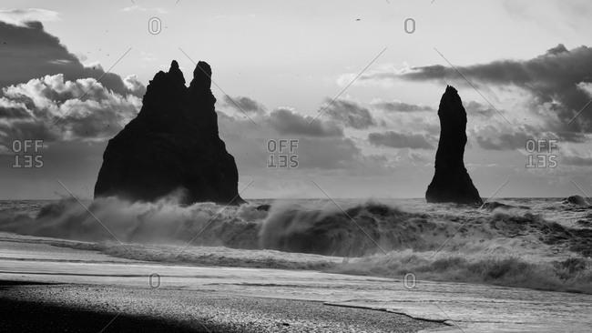 Basalt sea stacks off the coast of Iceland