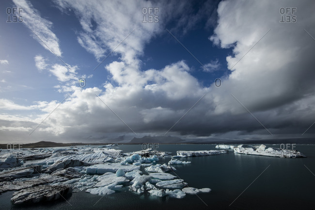 Blue sky and glacial lagoon on the coast of Iceland