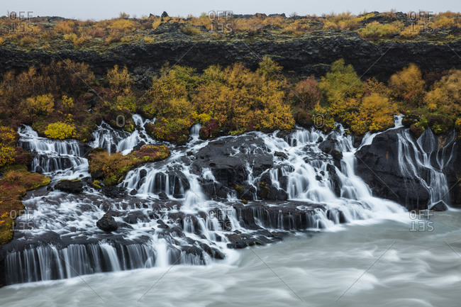Hraunfossar Waterfalls in Iceland flowing into a pool