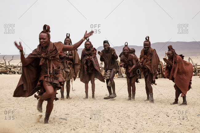 August 20, 2015: Himba people dancing in Namibia