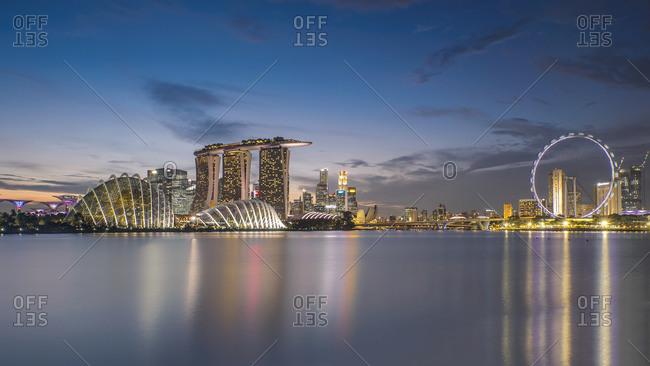 Singapore skyline and shoreline at night