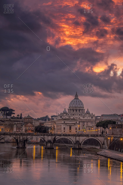 The sun setting over Saint Peter's Basilica, Rome