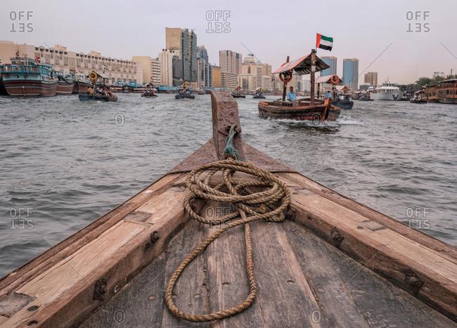 Boats in Dubai's Creek Abra crossing
