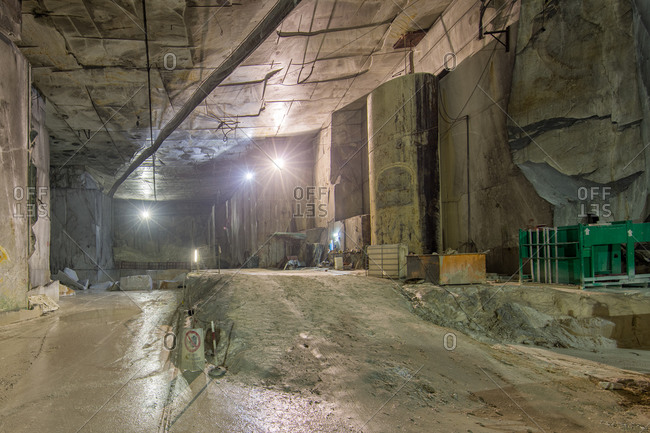 Tunnel inside marble quarry in Tuscany, Italy