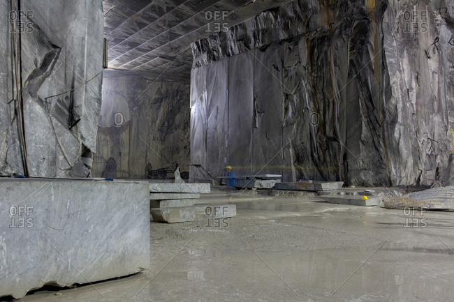 Interior of marble quarry in Tuscany, Italy