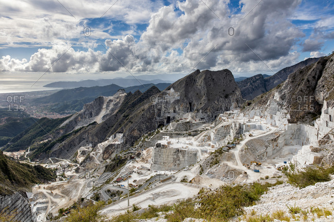 Marble quarry in Tuscany mountains, Italy