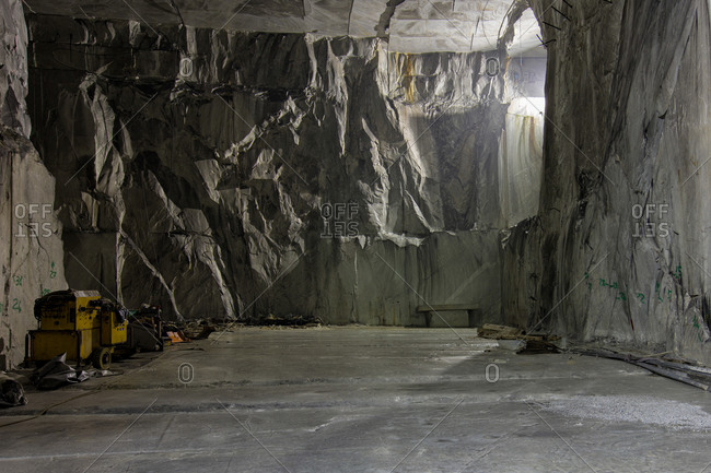 Interior of a marble quarry in Tuscany, Italy