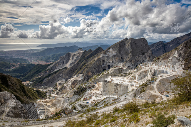 Marble quarry in mountains in Tuscany, Italy